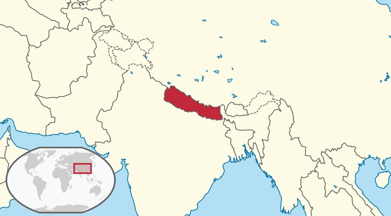 Népal sur une carte de l'Asie