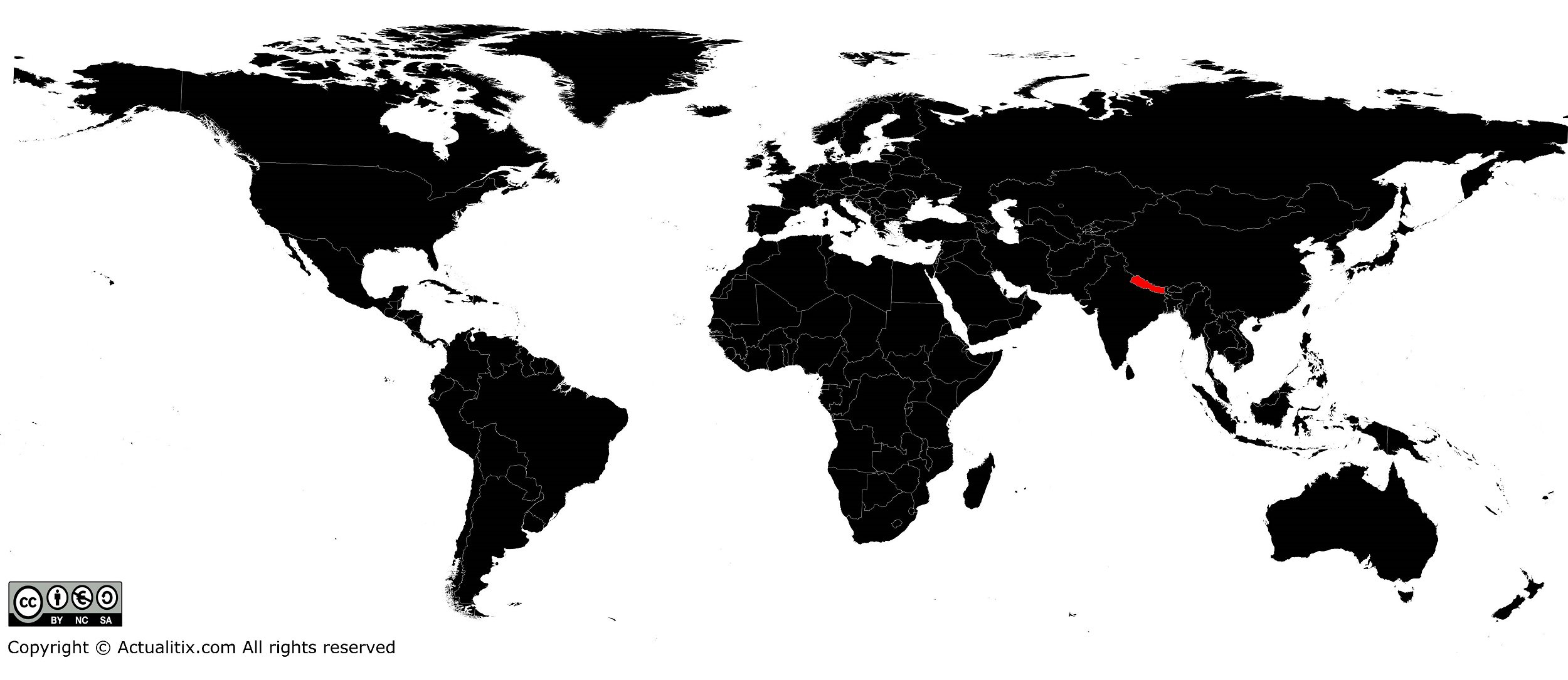 Népal sur une carte du monde