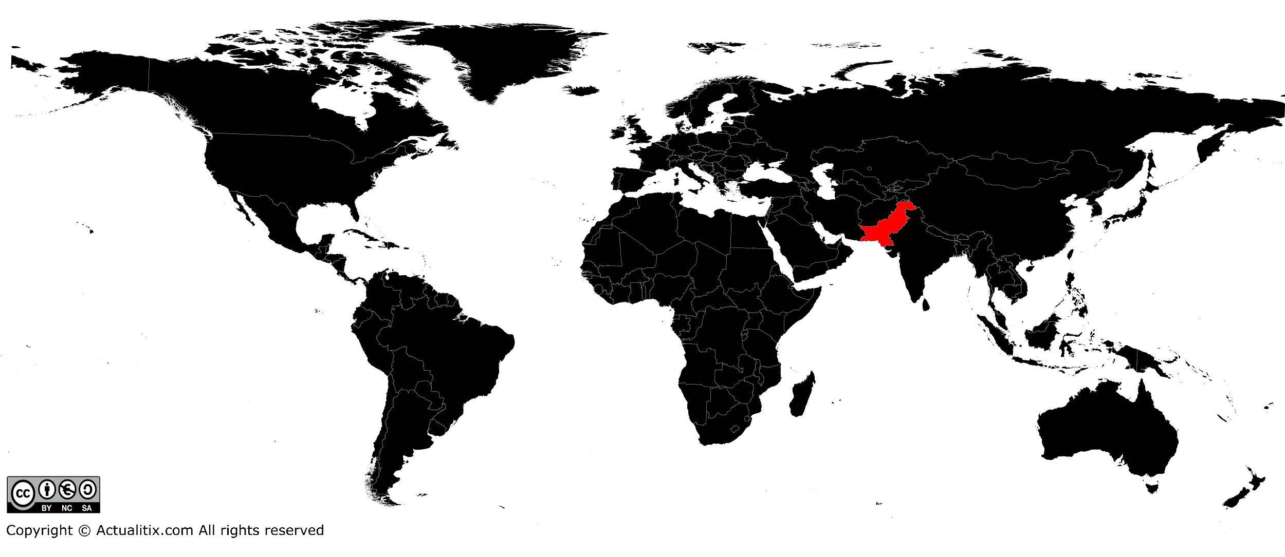 Pakistan sur une carte du Monde