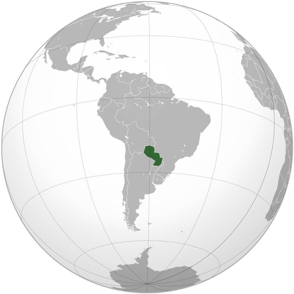 Paraguay sur une carte du monde
