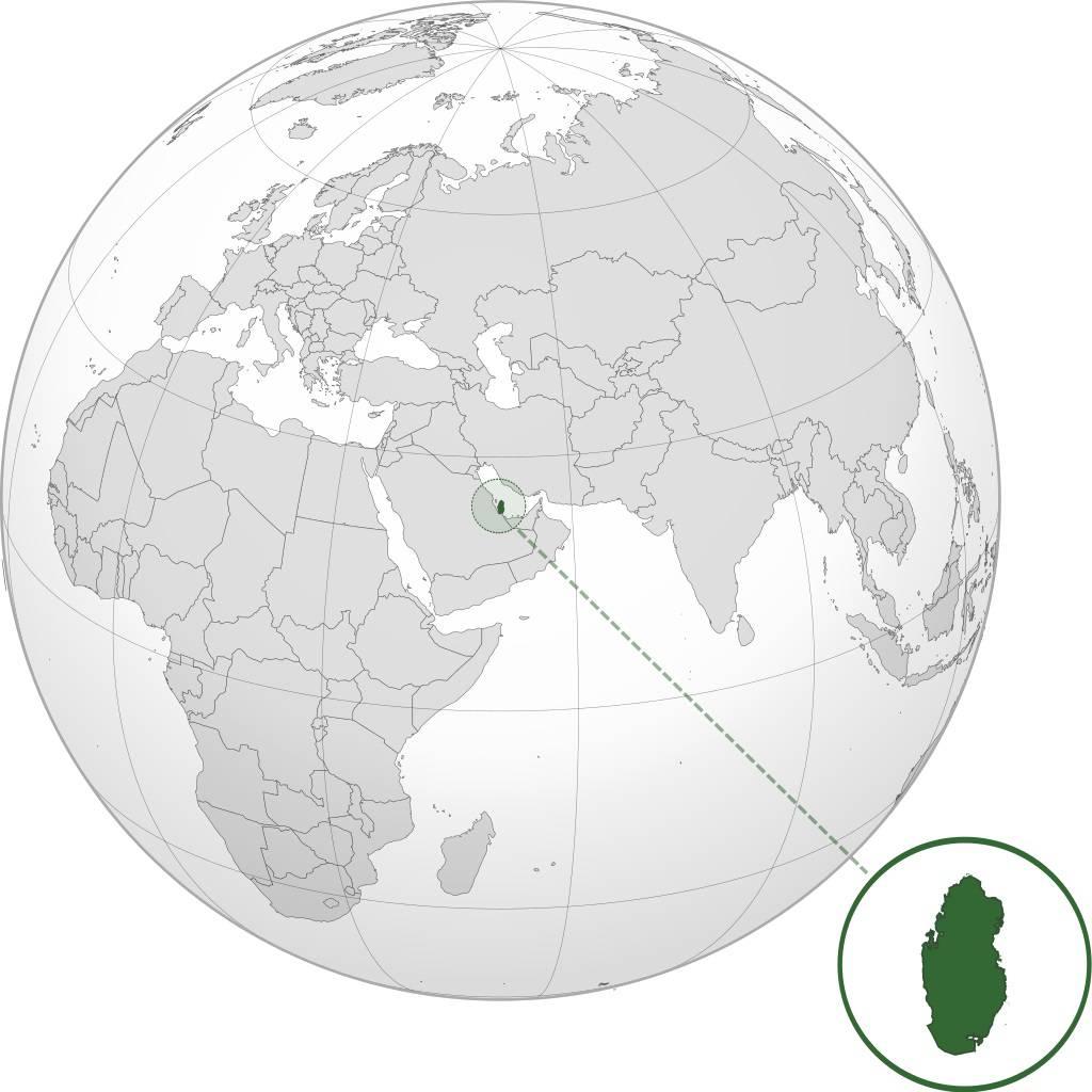 Qatar sur une carte du Moyen-Orient