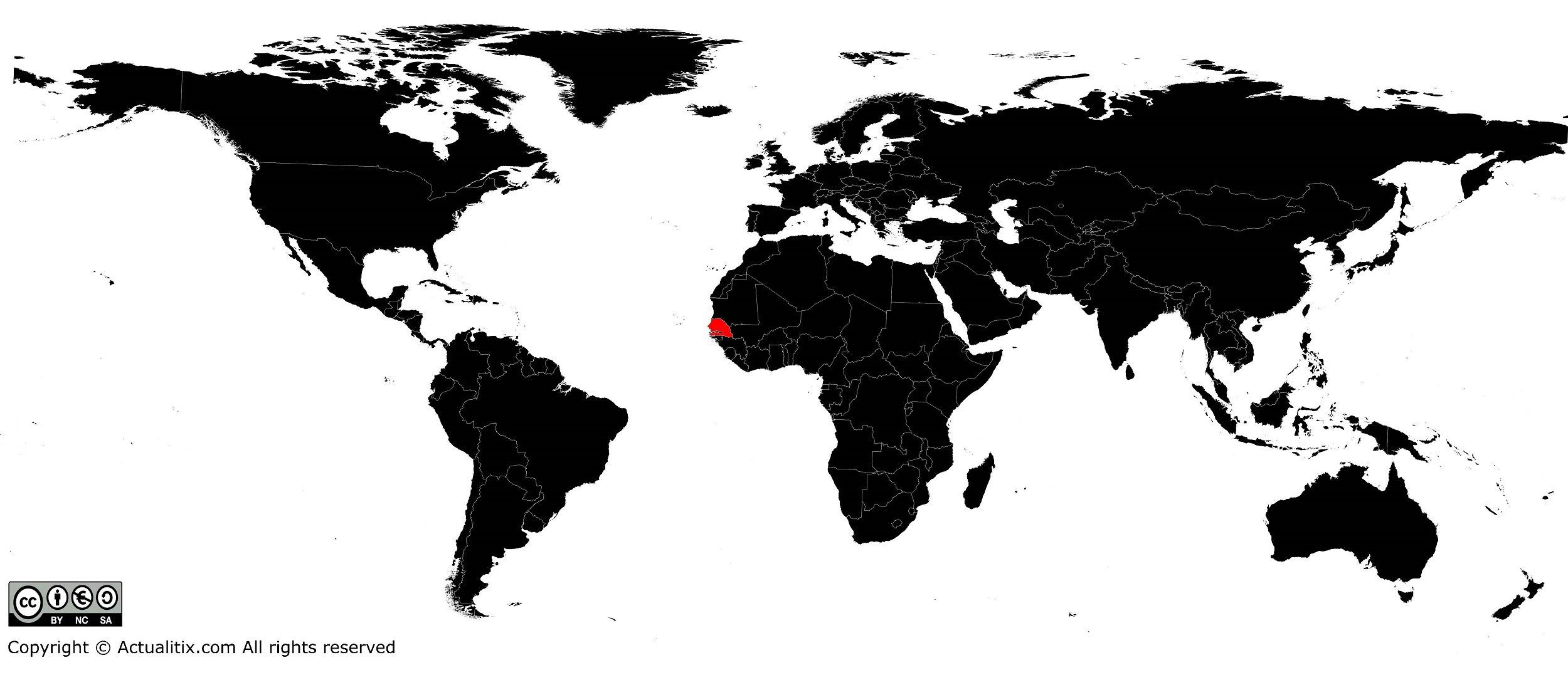 Sénégal sur une carte du monde