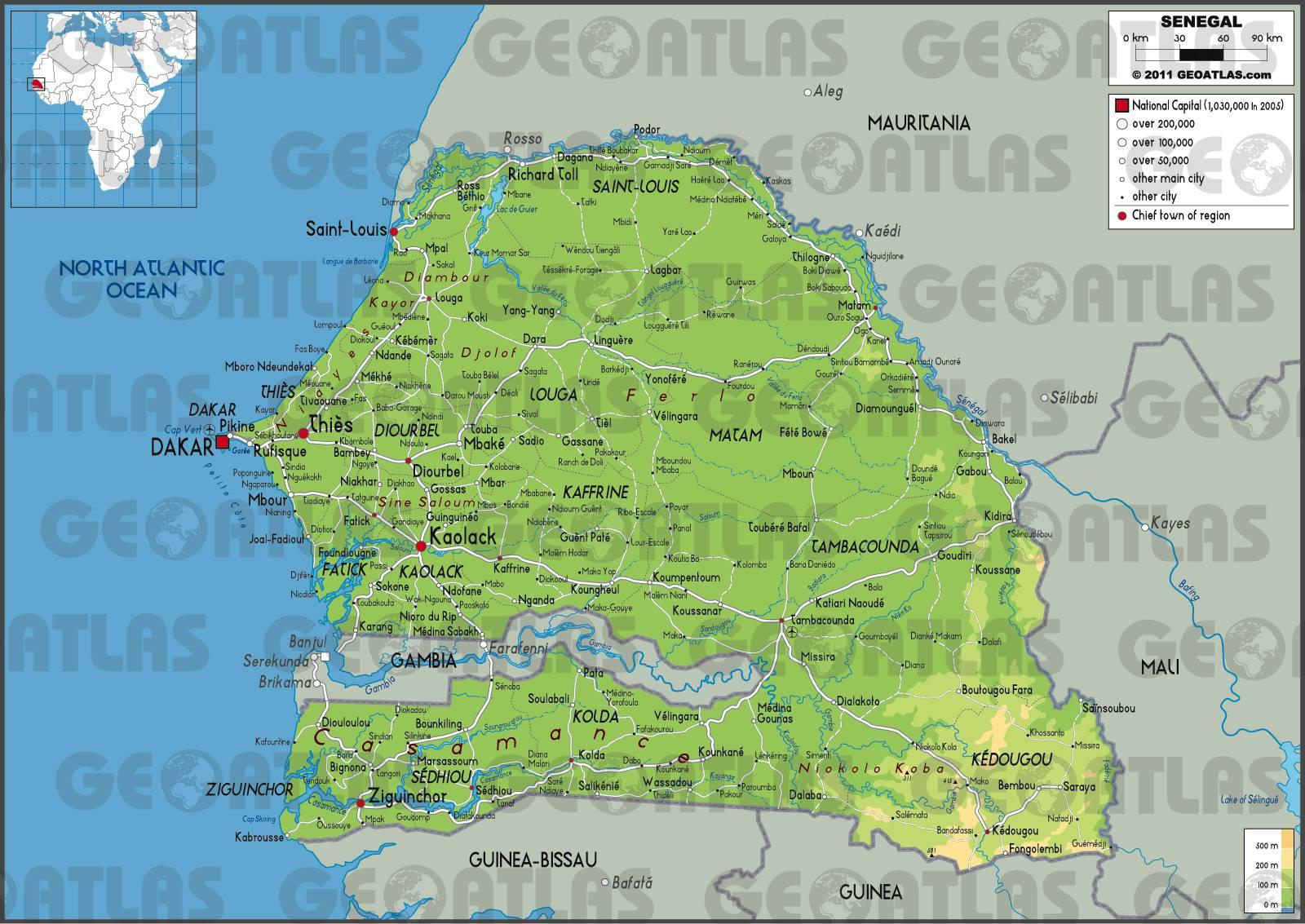 Senegal Afrique Du Sud Carte.Carte Du Senegal Plusieurs Carte Du Pays De L Ouest De L