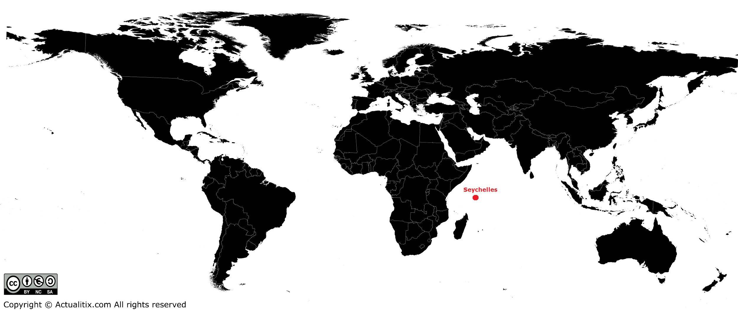 Seychelles sur une carte du monde