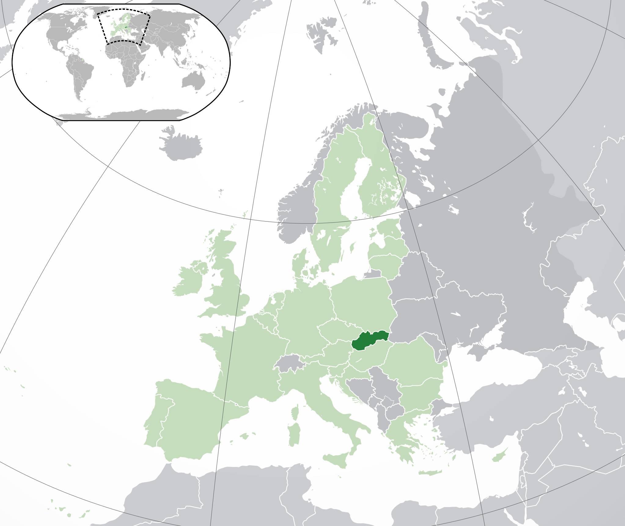 Slovaquie sur une carte de l'Europe