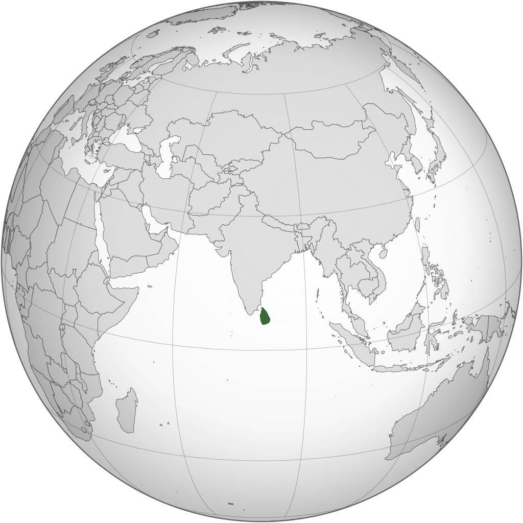 Sri Lanka sur une carte de l'Asie