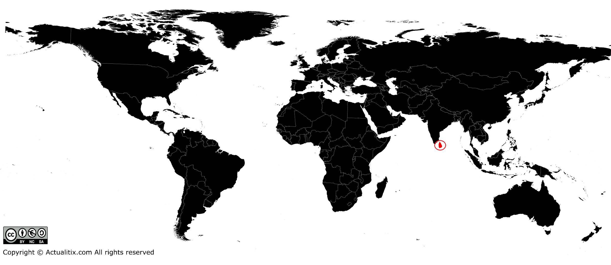 Sri Lanka sur une carte du monde