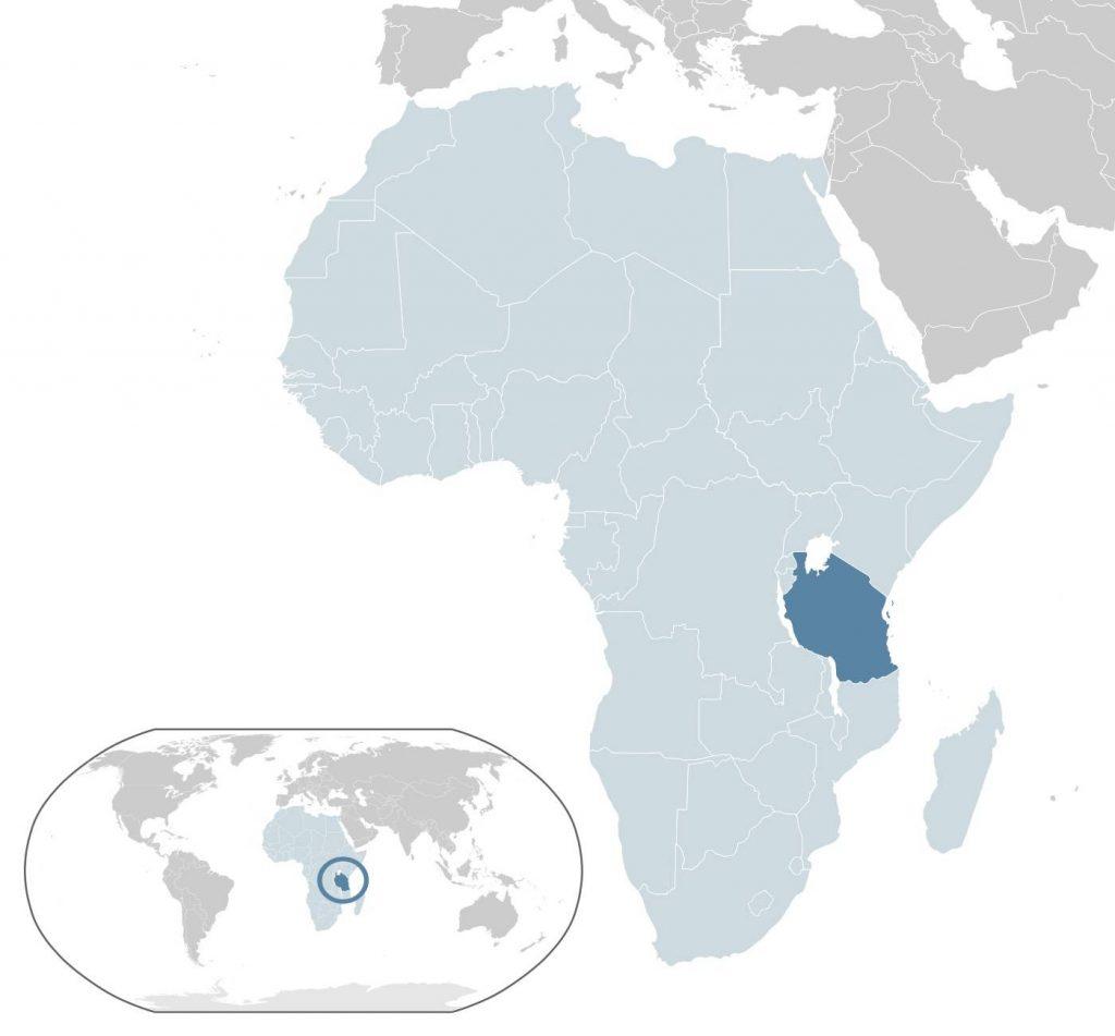 Tanzanie sur la carte de l'Afrique