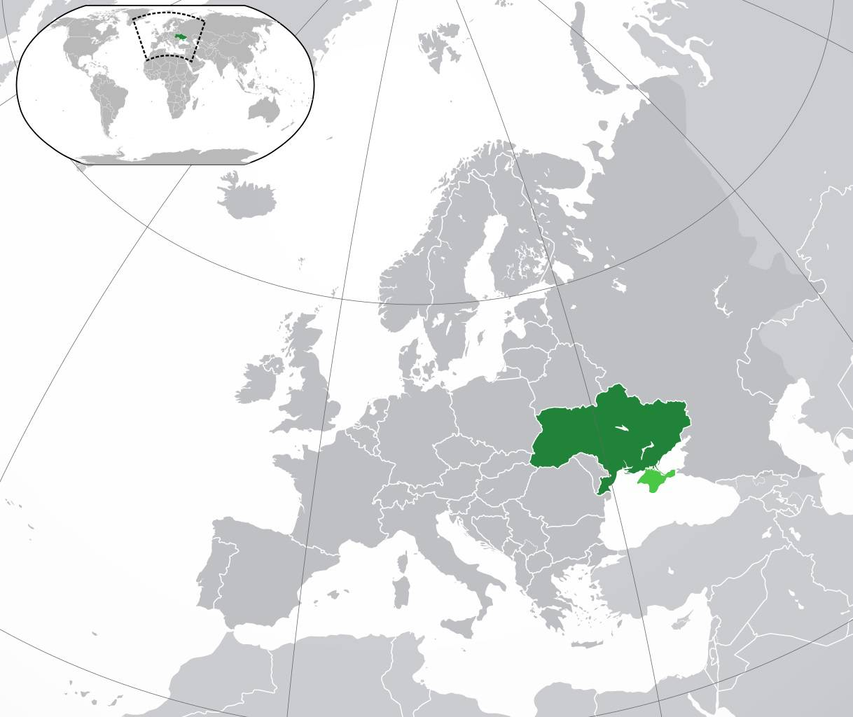 Ukraine sur une carte de l'Europe