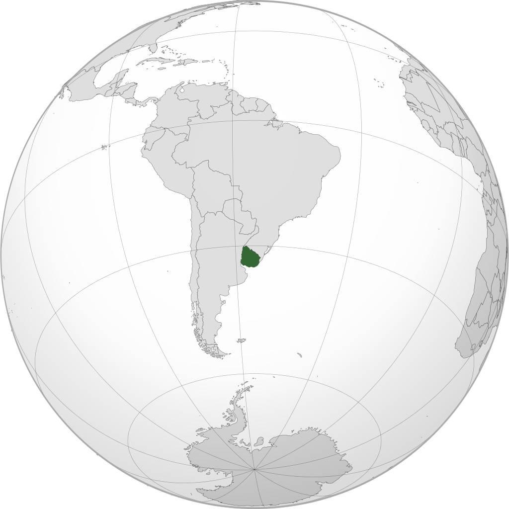 Uruguay sur une carte de l'Amérique du Sud
