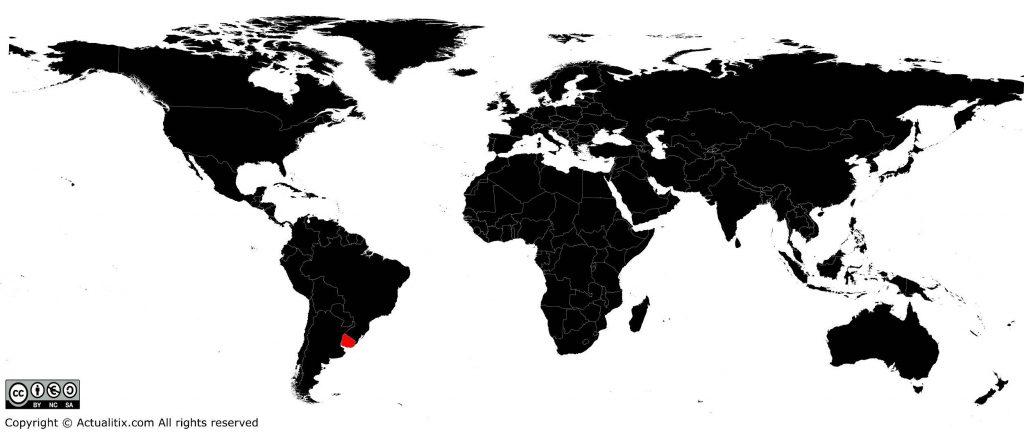 Uruguay sur une carte du monde