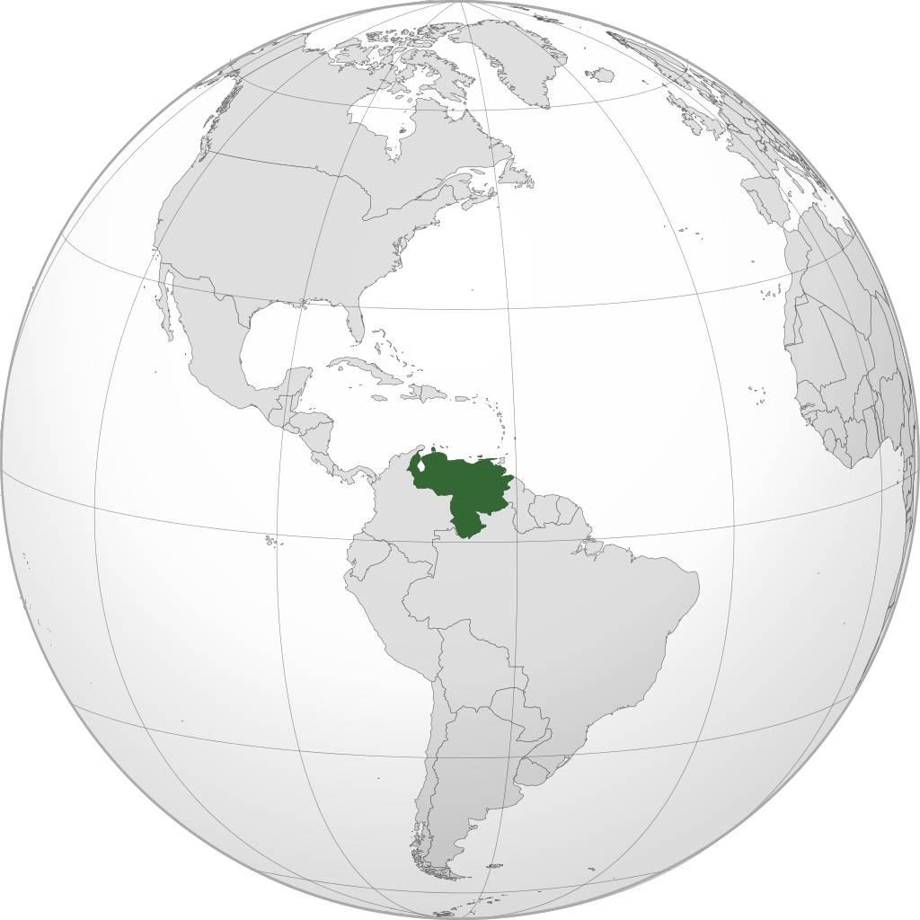 Venezuela sur une carte d'Amérique du Sud