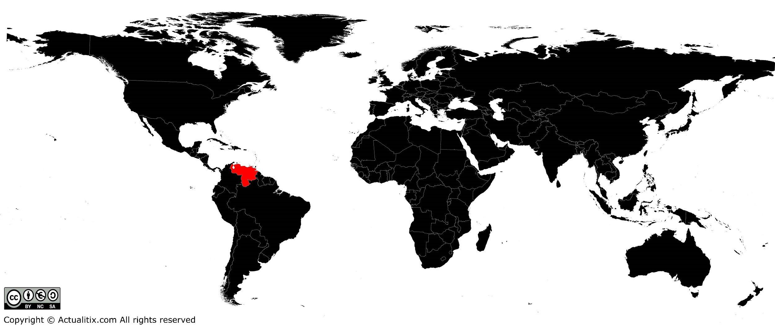 Venezuela sur une carte du monde