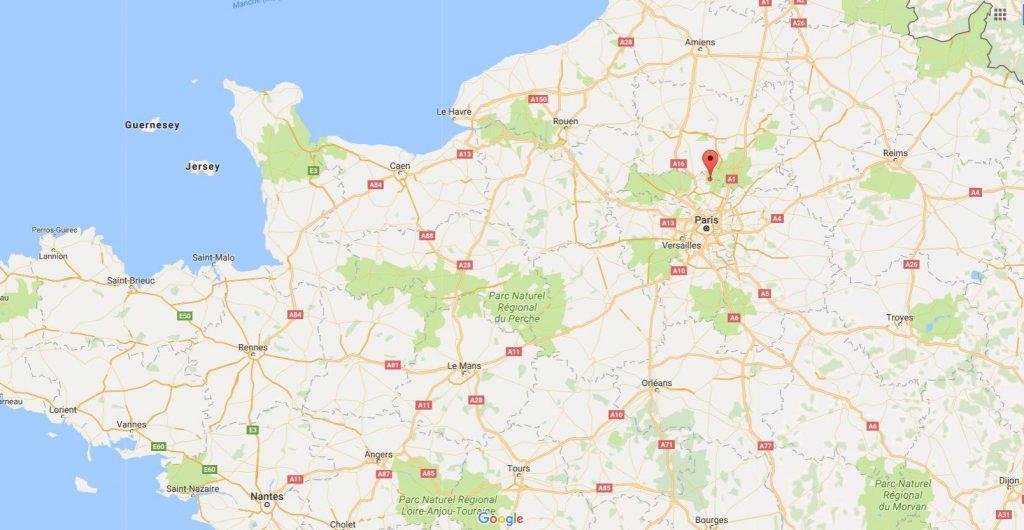 Abbaye de Royaumont sur une carte de France