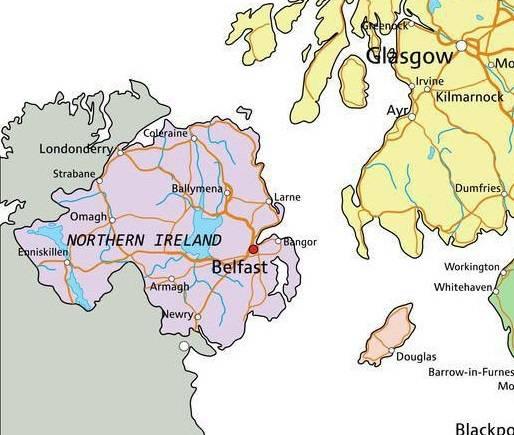 Autre carte de l'Irlande du Nord