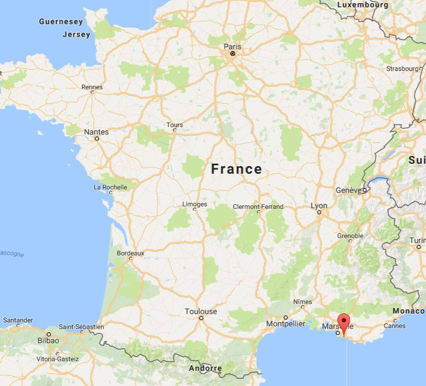 Les calanques à Cassis sur une carte de France