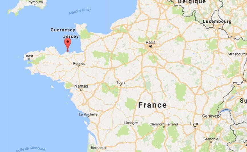 Cap Fréhel sur une carte de France
