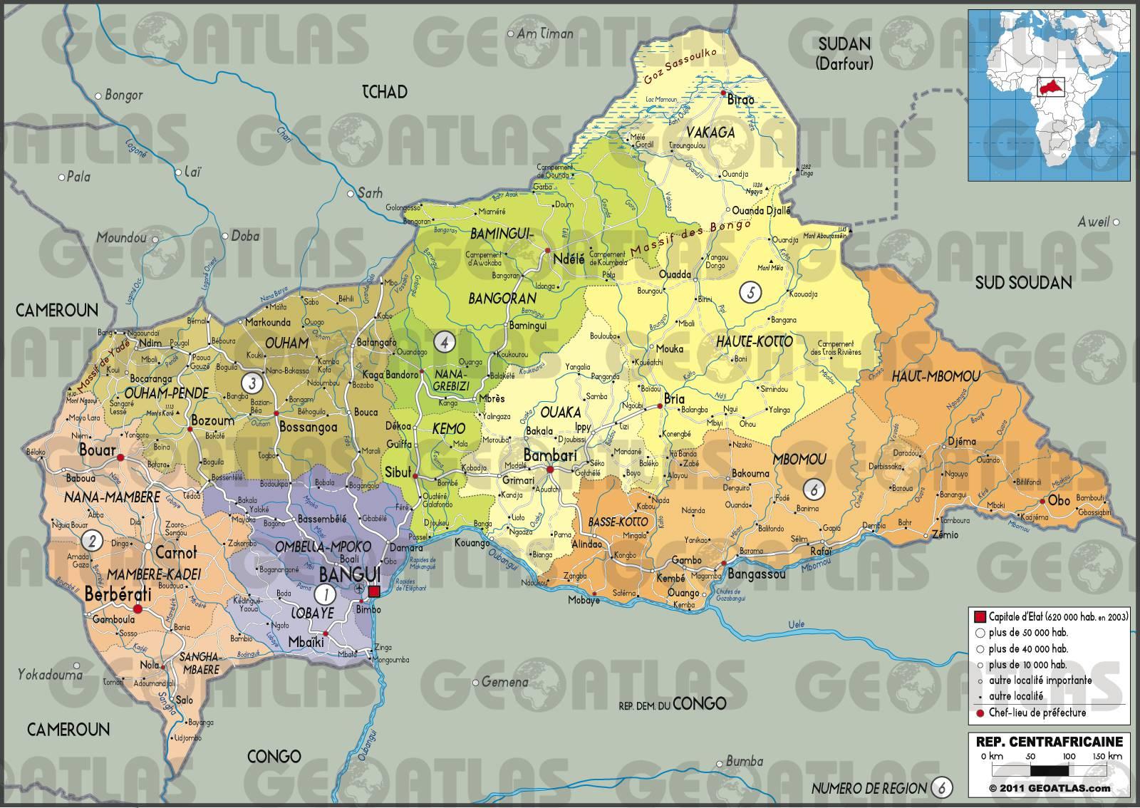 Carte administrative de la Centrafrique