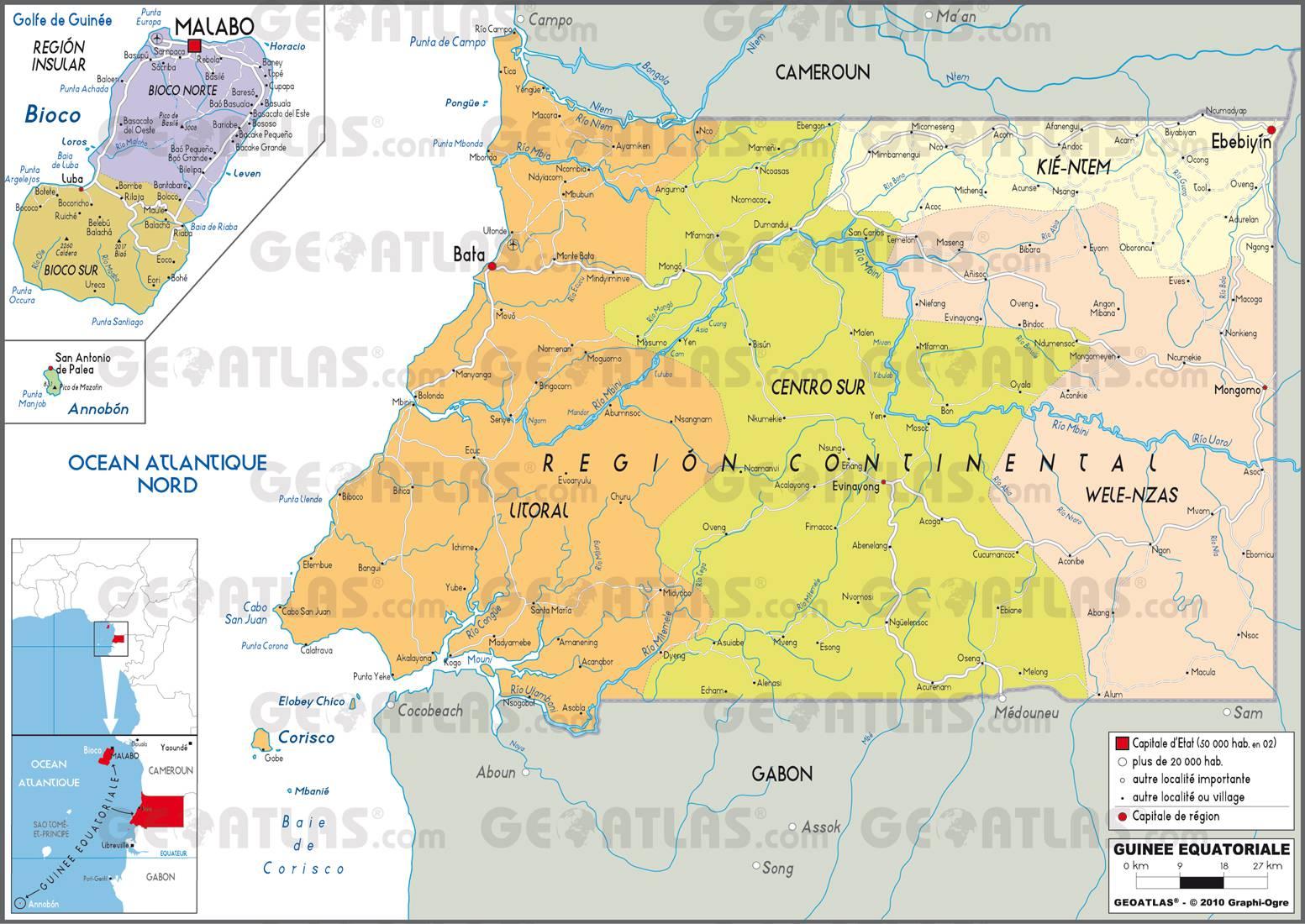 Carte administrative de la Guinée-Equatoriale