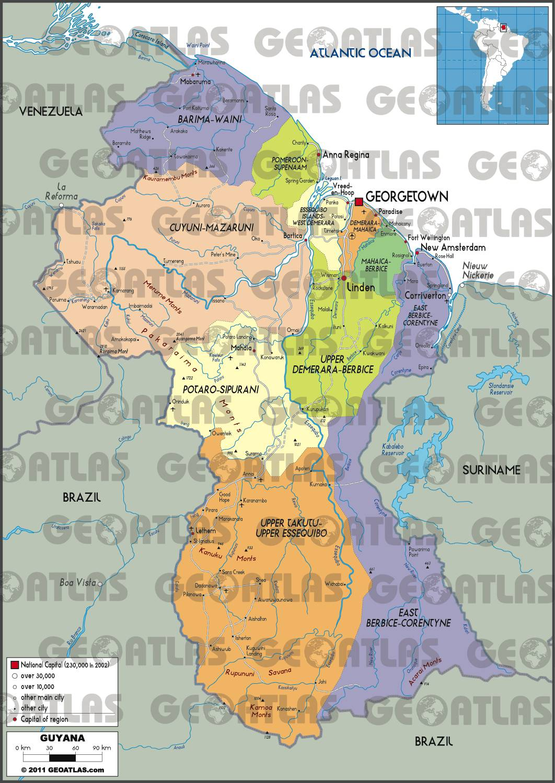 Carte administrative du Guyana