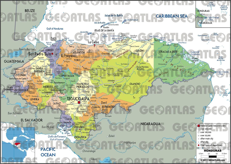 Carte administrative du Honduras