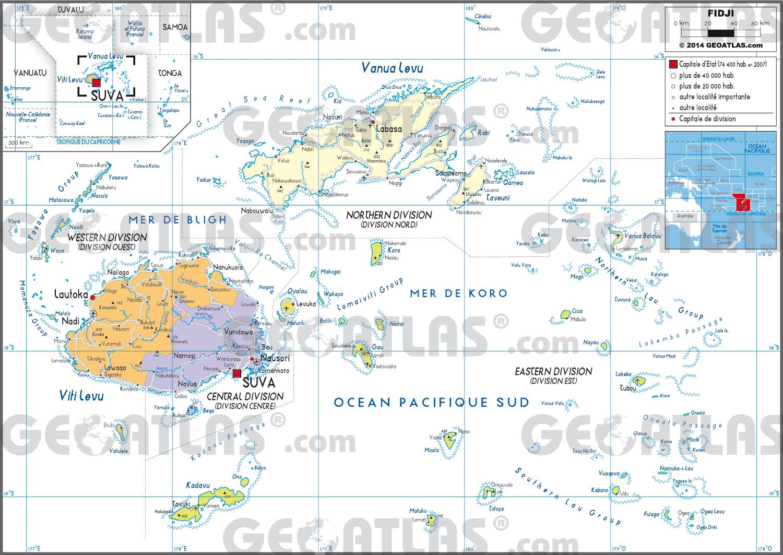 Carte administrative des Îles Fidji