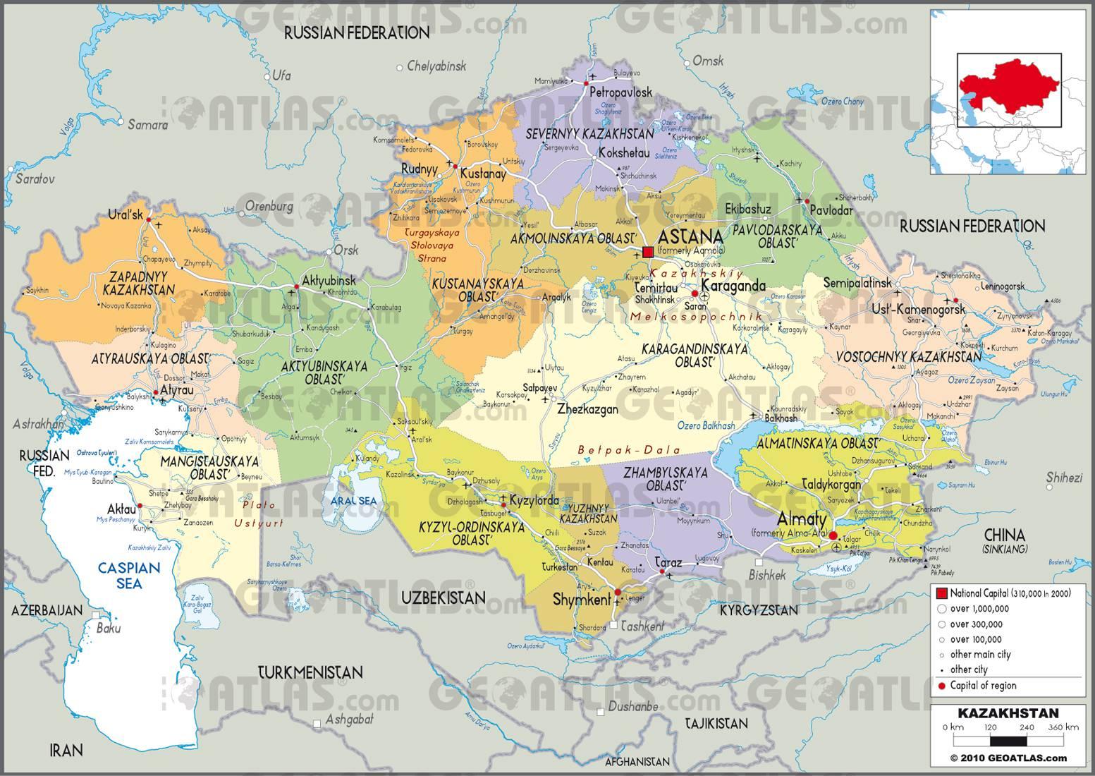 Carte administrative du Kazakhstan