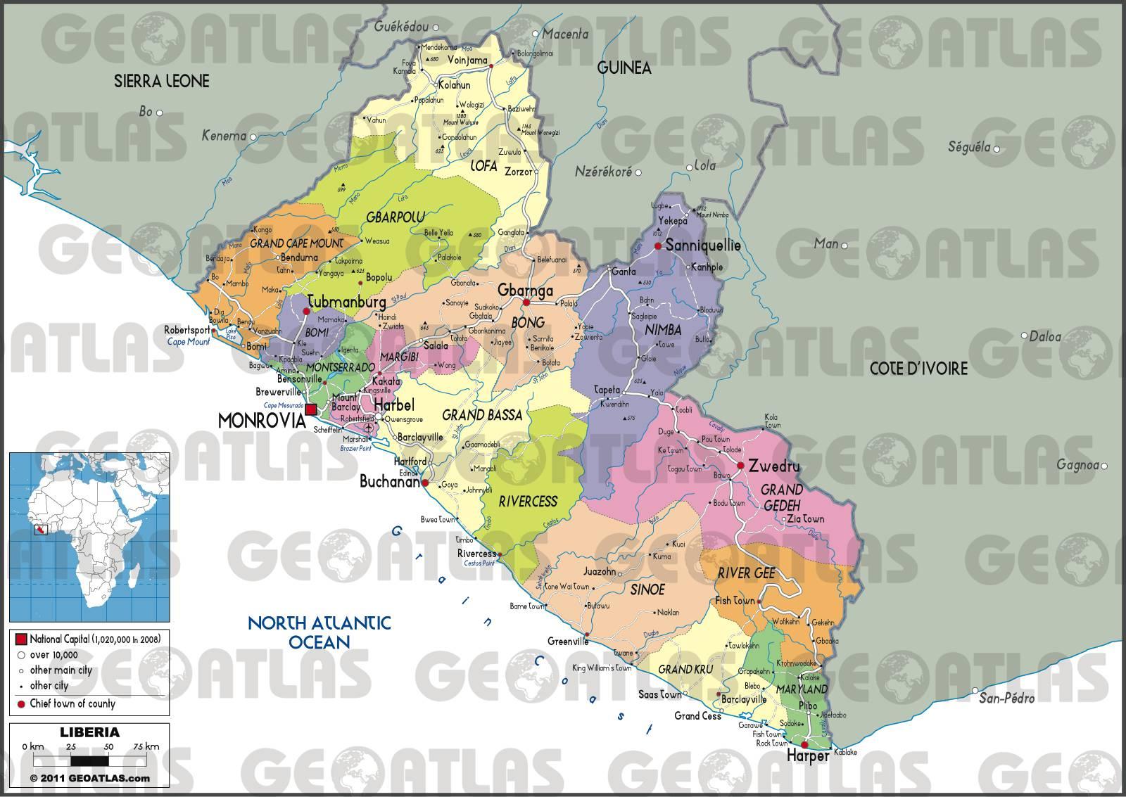 Cart administrative du Liberia