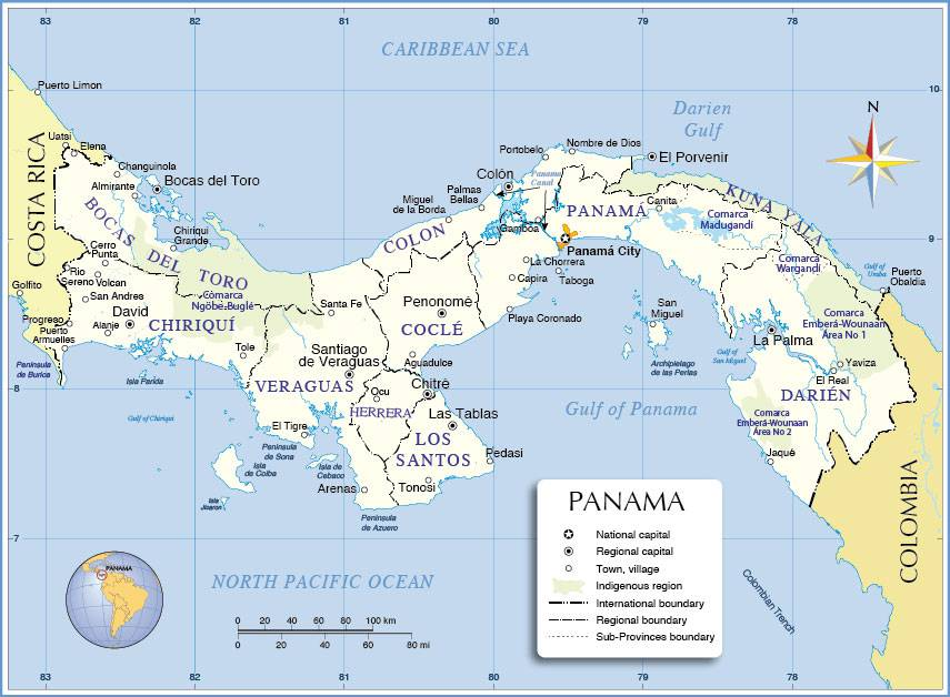 Carte administrative du Panama