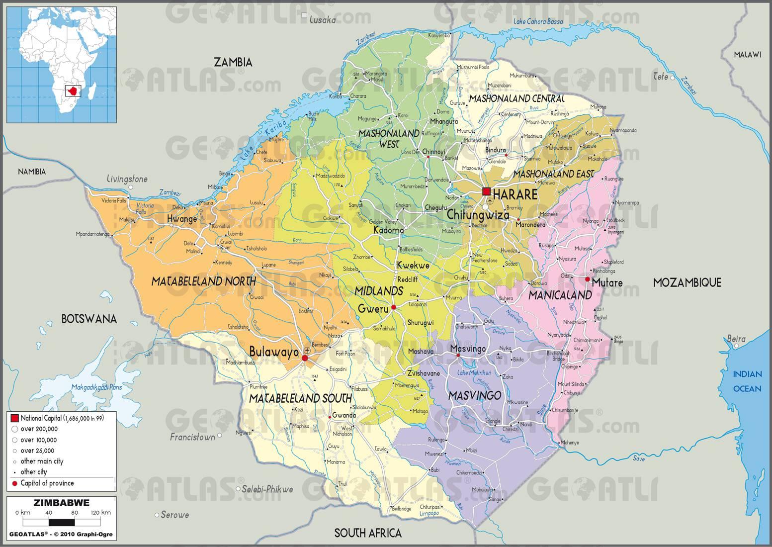 Carte administrative du Zimbabwe