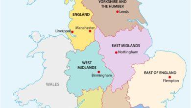 Carte de l'Angleterre