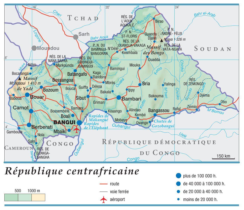 Carte de la Centrafrique