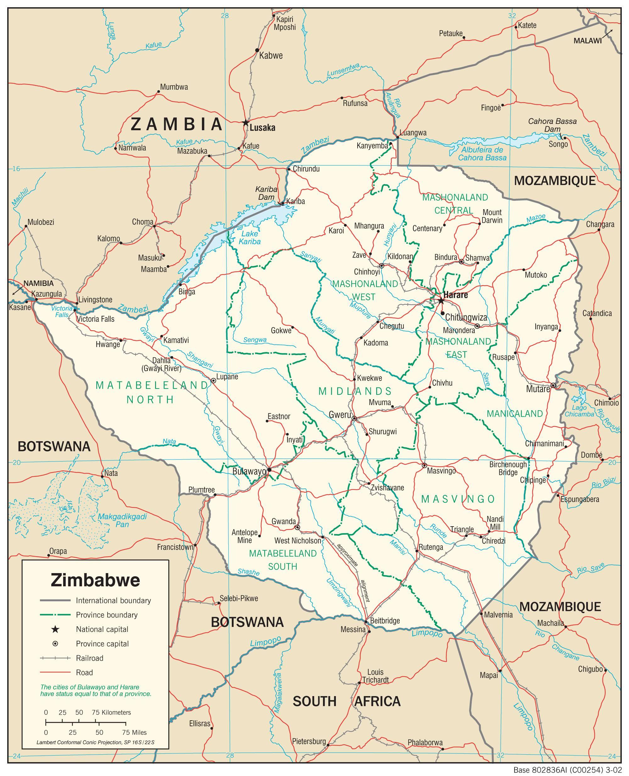 Carte détaillée du Zimbabwe