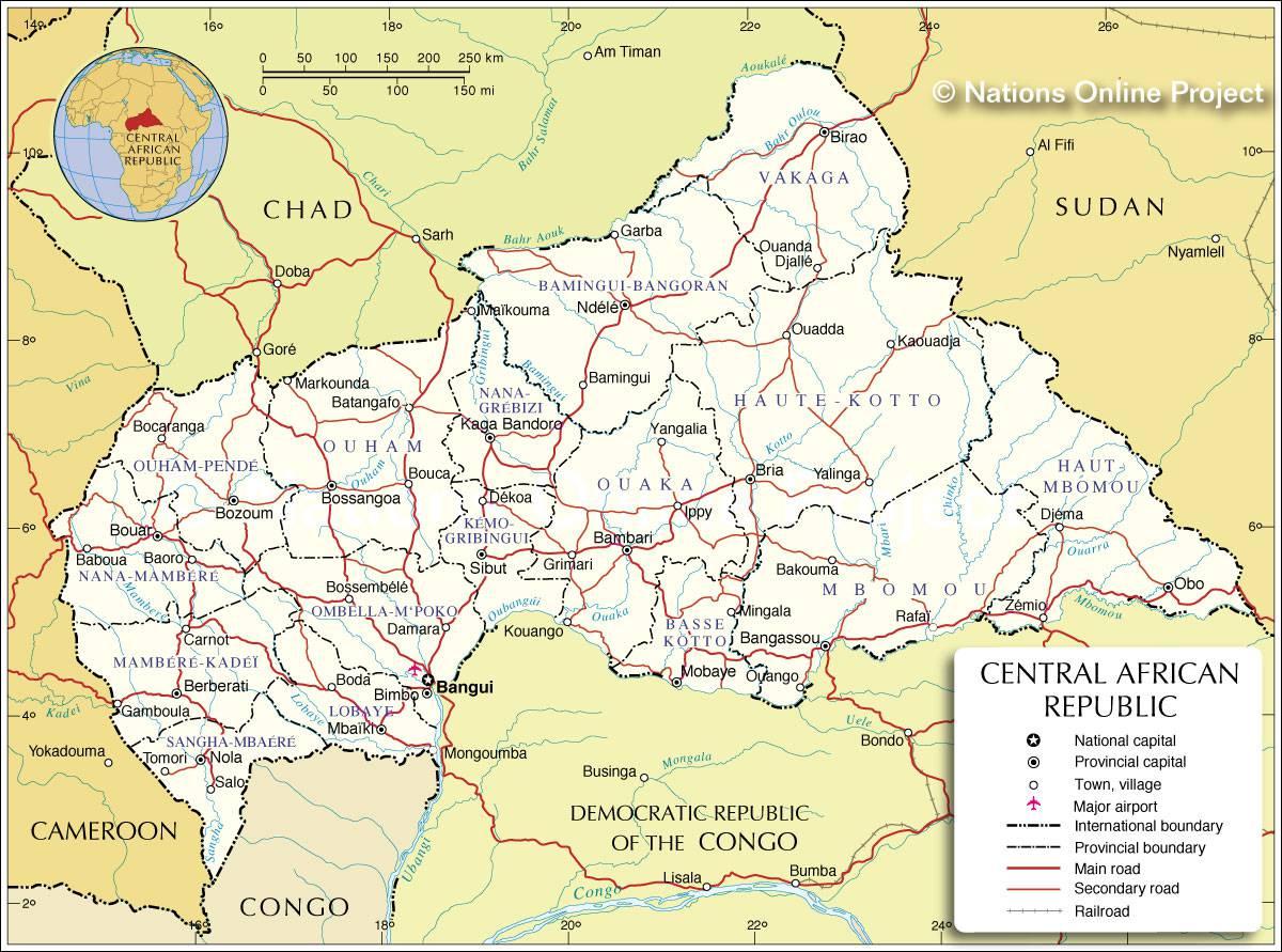 Carte détaillée de la Centrafrique