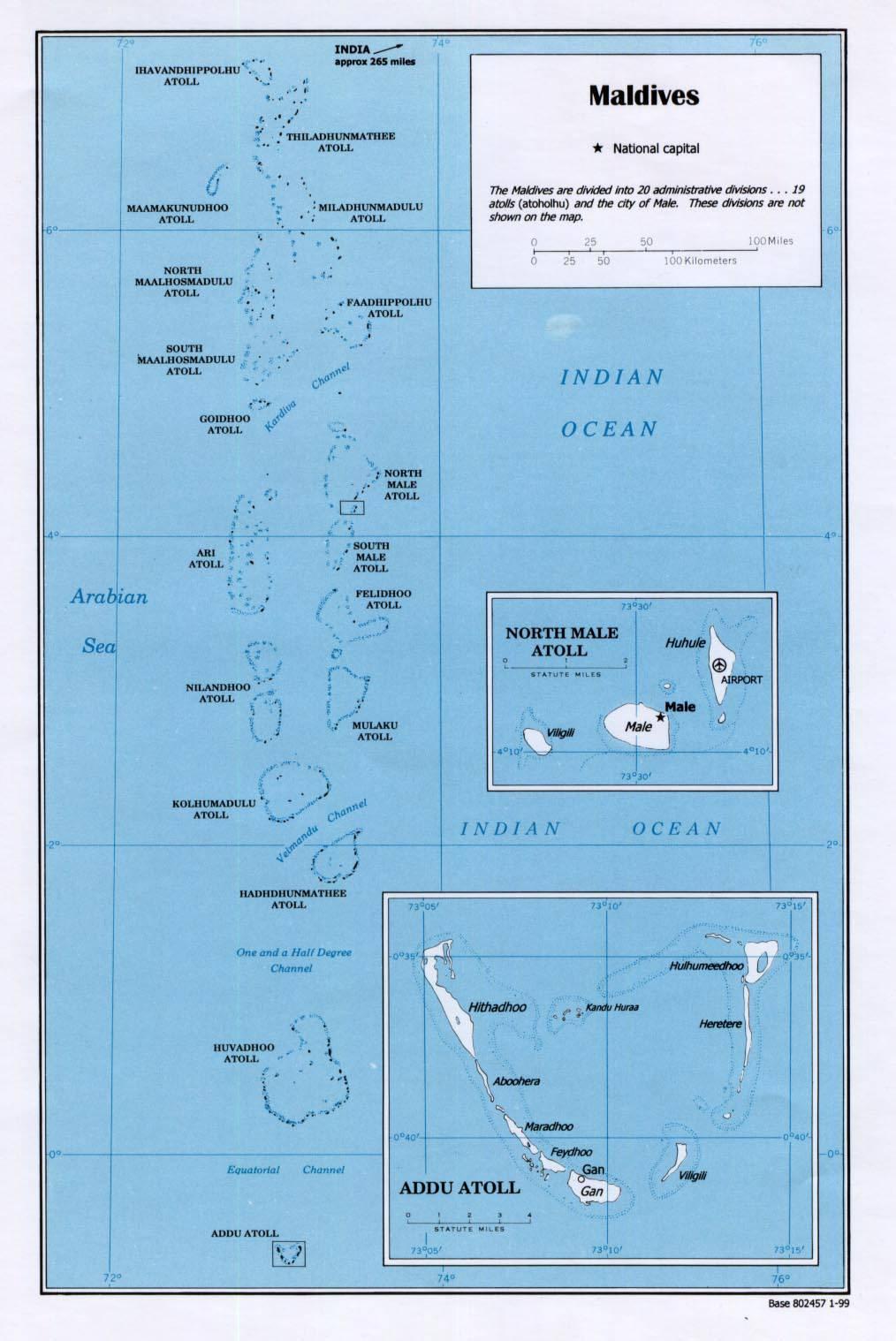 Carte détaillée des Maldives