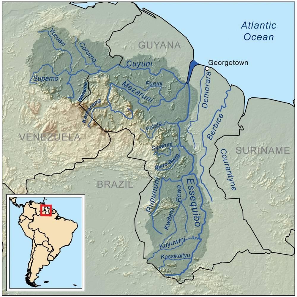 Carte des fleuves du Guyana