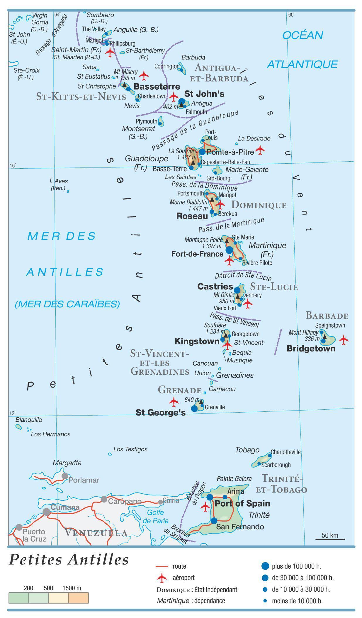 Carte géographique de la Grenade
