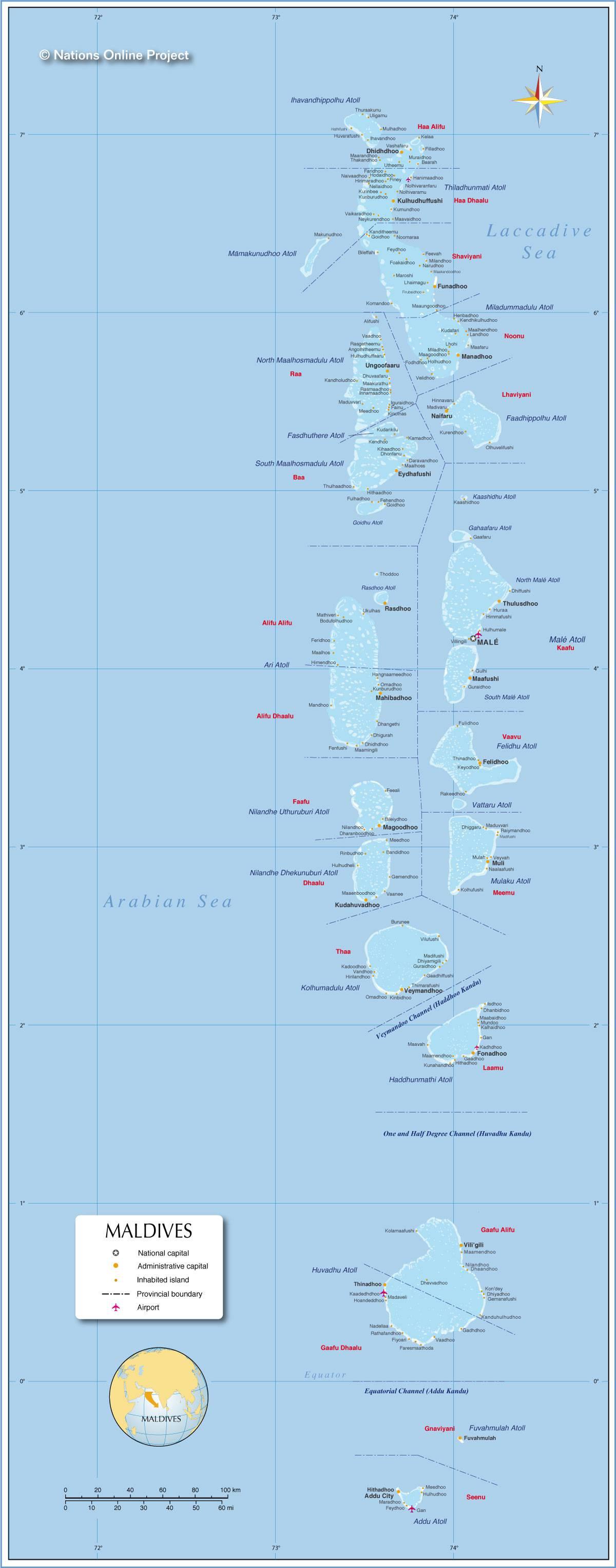Carte géographique des Maldives