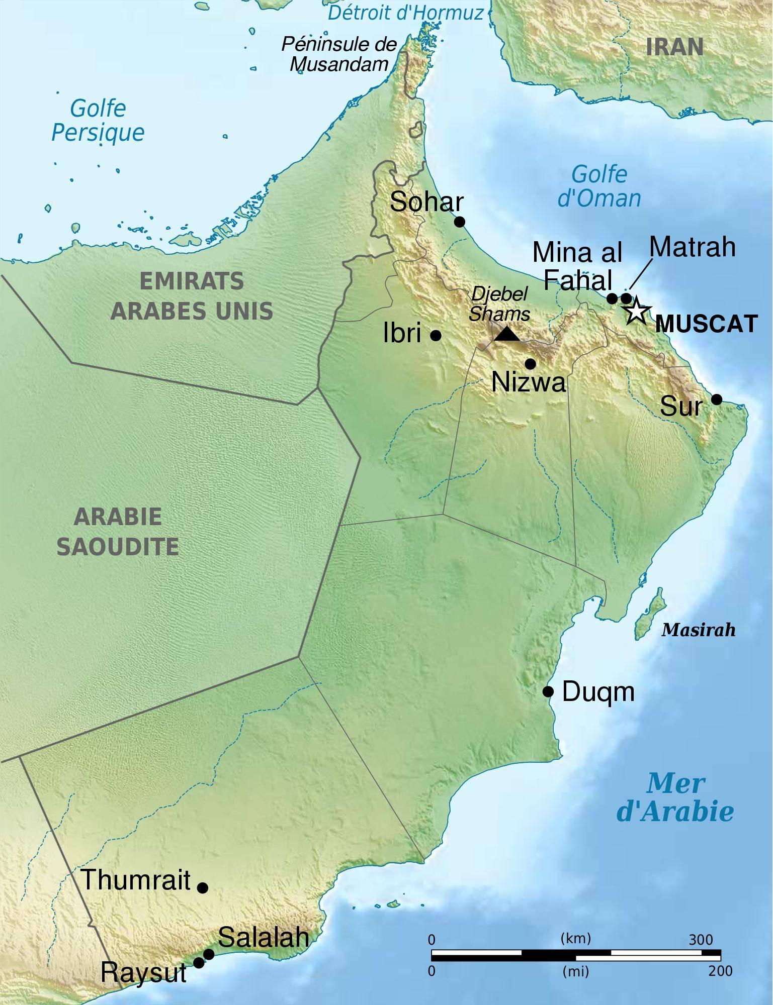 Carte géographique d'Oman