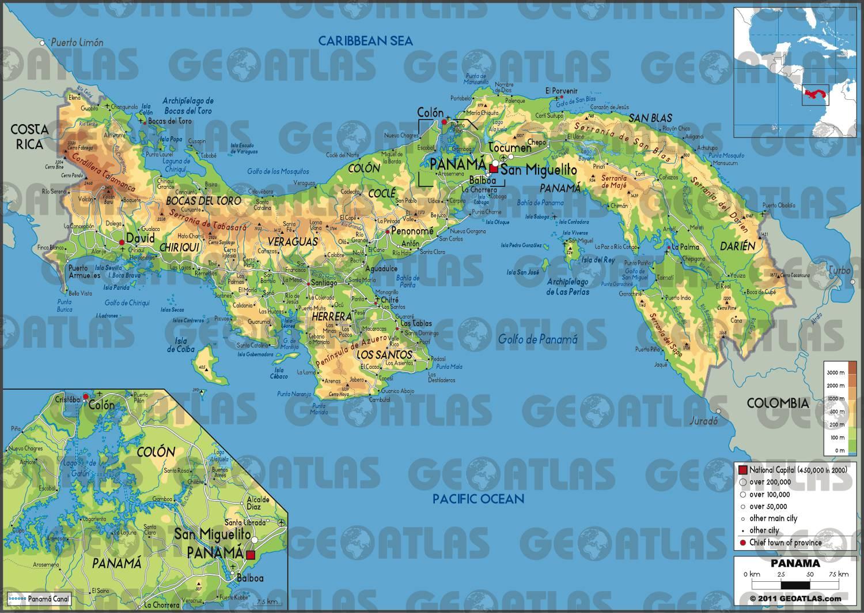 Carte géographique du Panama