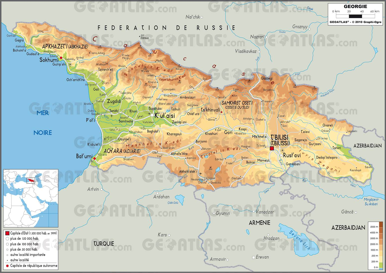 Carte de la Géorgie   Découvrir une carte du pays (villes