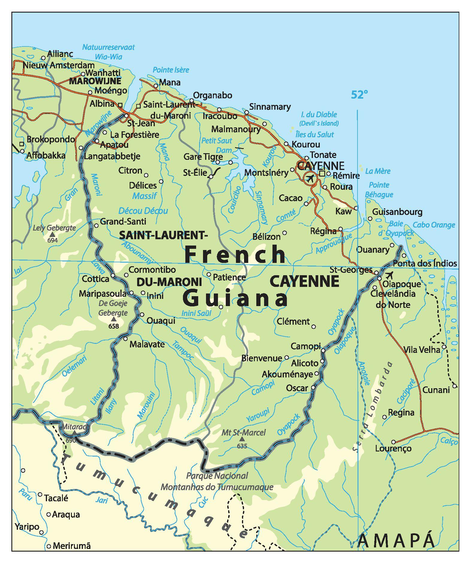 Carte de la Guyane française