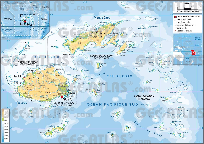 Carte des Îles Fidji