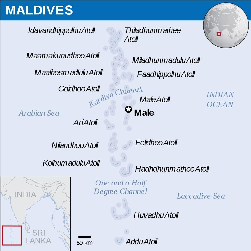 Carte des îles Maldives