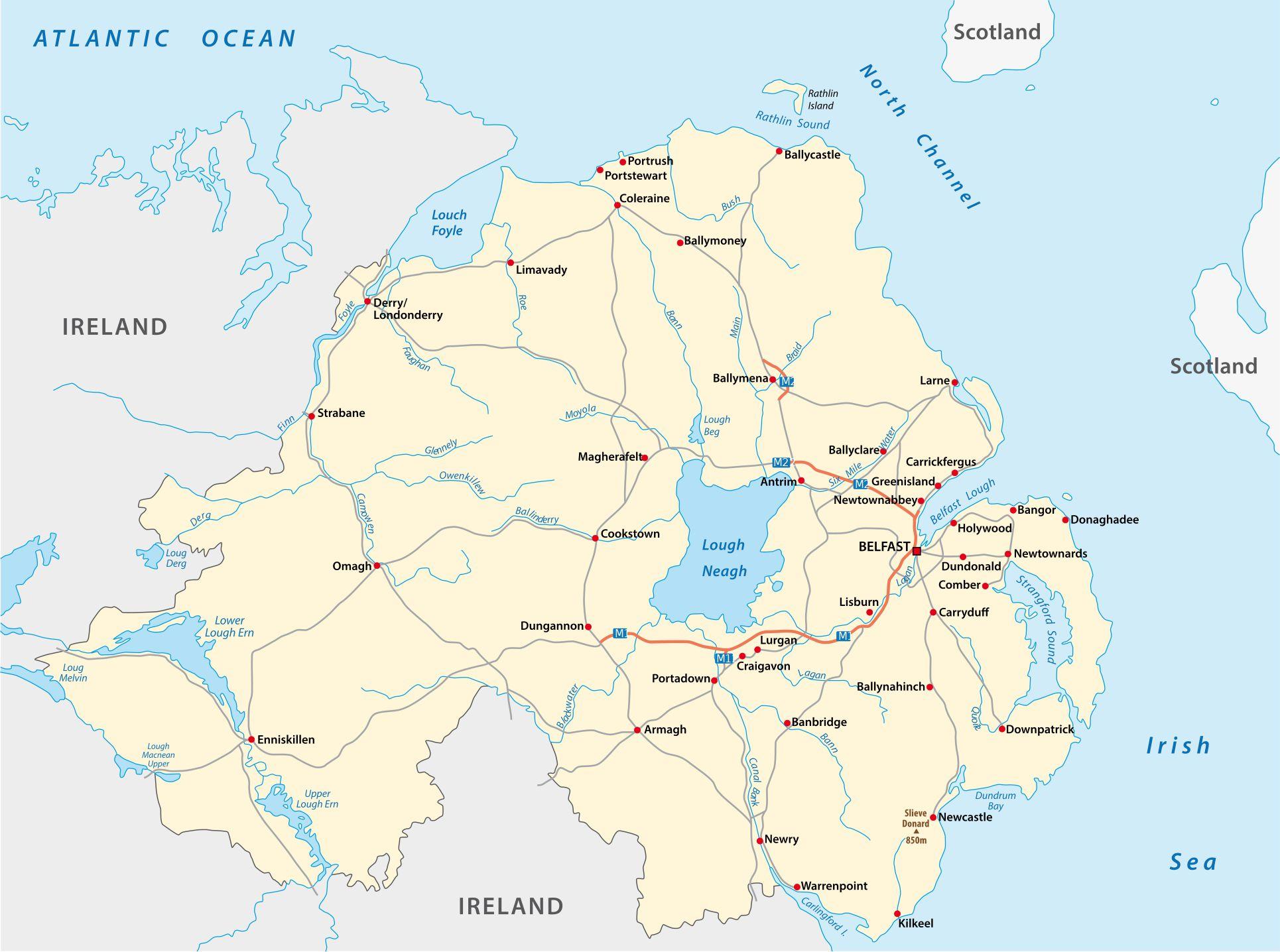 Carte de l'Irlande du nord