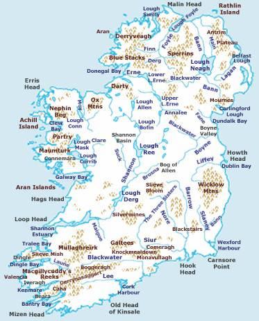 Carte des lacs et fleuves de l'Irlande du Nord