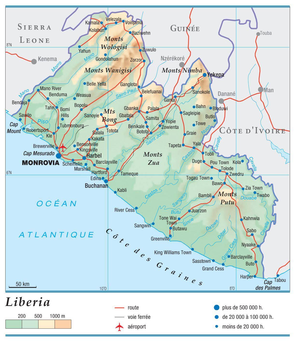 Carte du Liberia