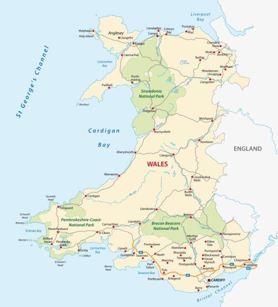 Carte des Pays de Galles