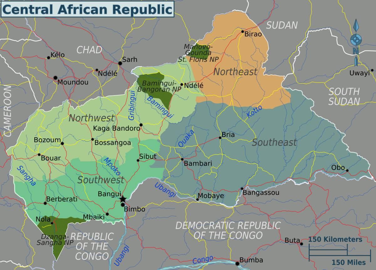Carte politique de la Centrafrique