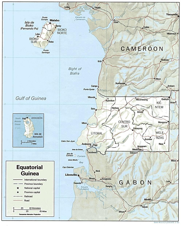 Carte politique de la Guinée-Equatoriale